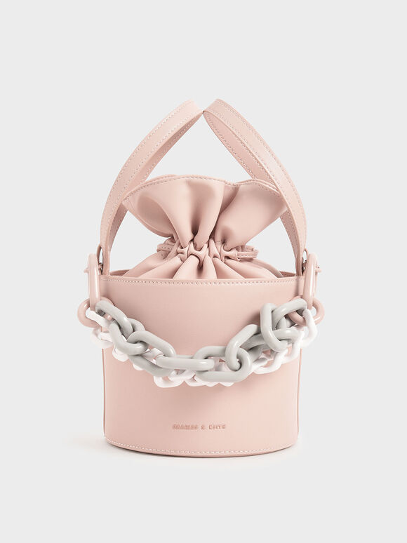 Double Chain Link Bucket Bag, Pink, hi-res