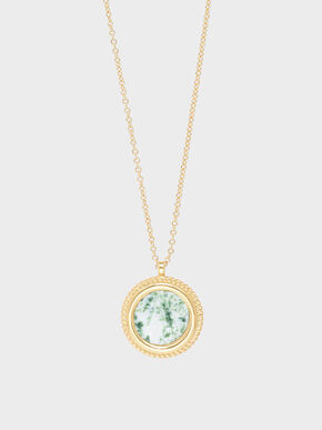 Tree Agate Pendant Necklace, Green