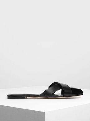 Asymmetrical Strap Slide Sandals, Black