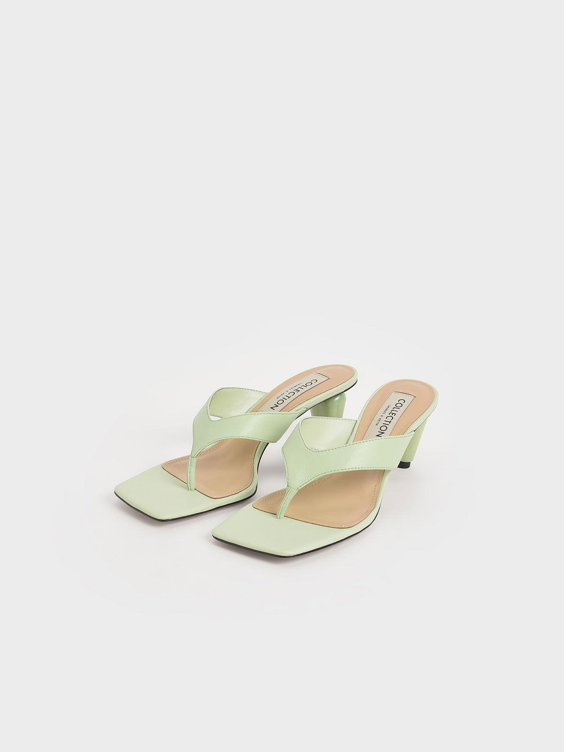 真皮方頭夾腳拖鞋, 綠色, hi-res