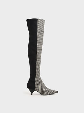 Houndstooth Print Thigh High Boots, Multi