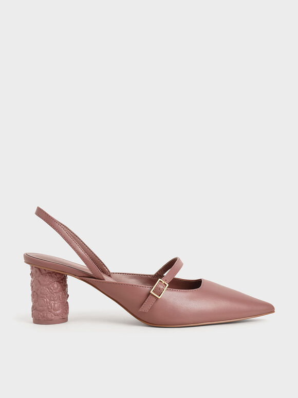 Embossed Heel Slingback Pumps, Pink, hi-res