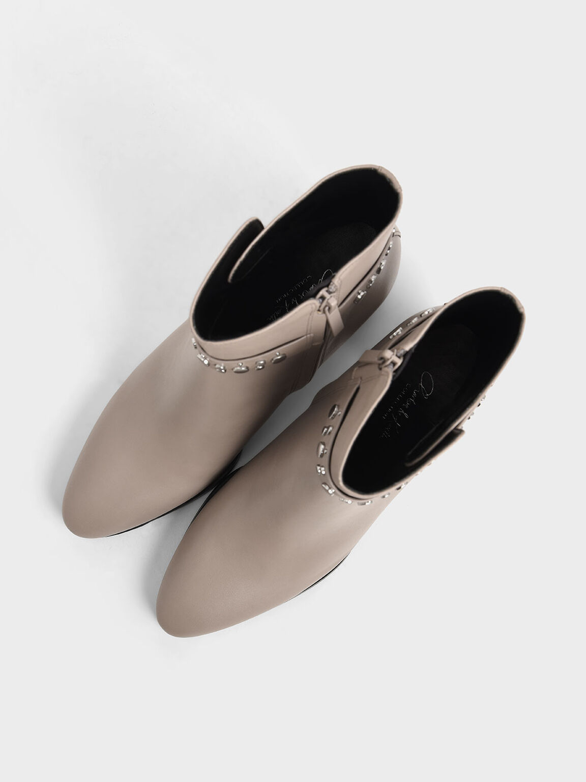 Leather Embellished Ankle Boots, Grey, hi-res