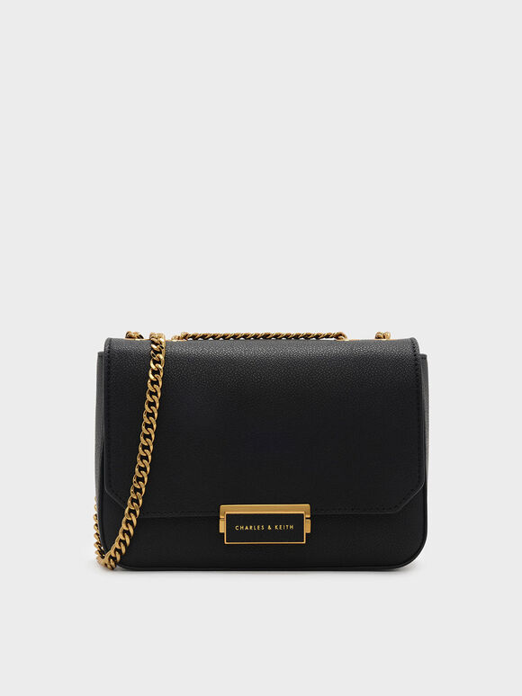 Classic Push-Lock Crossbody Bag, Black, hi-res