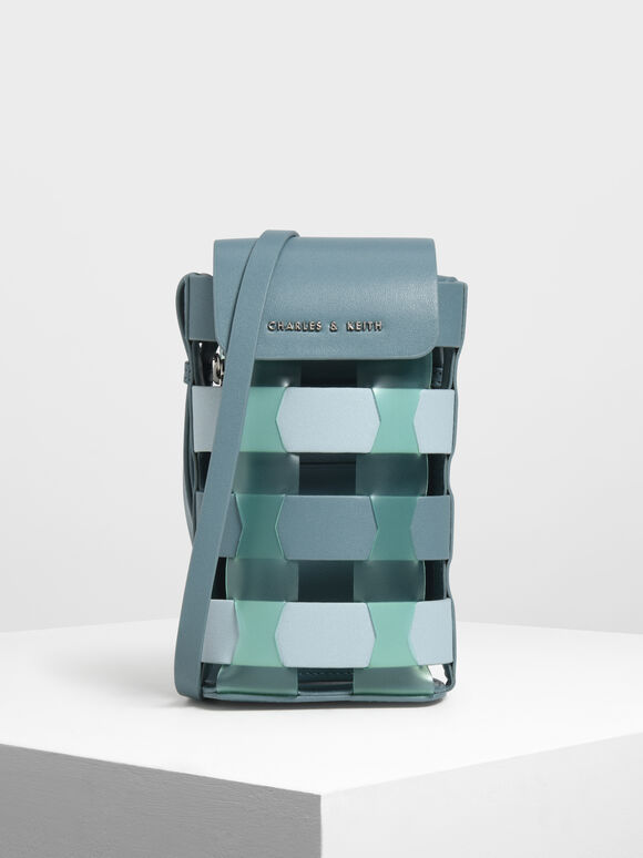See-Through Woven Pouch, Teal, hi-res