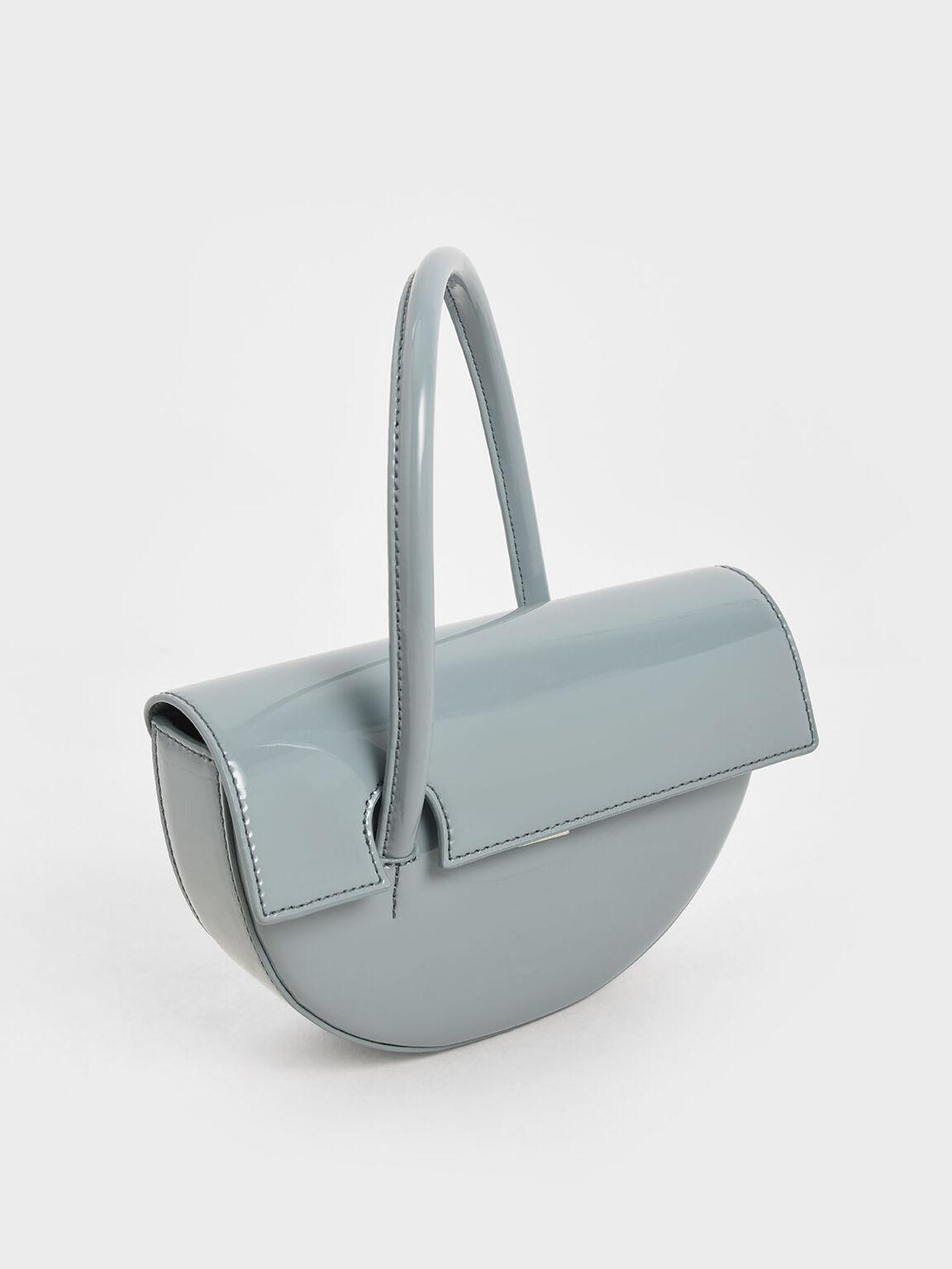 Patent Top Handle Semi-Circle Bag, Slate Blue, hi-res