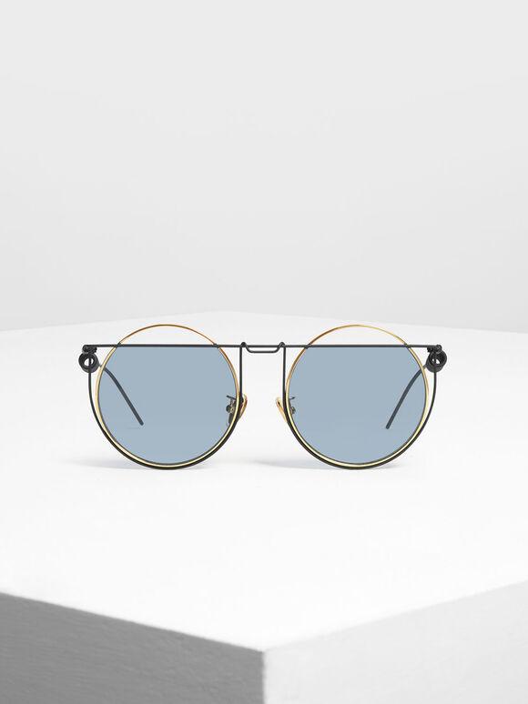 Geometric Round Frame Sunglasses, Black, hi-res