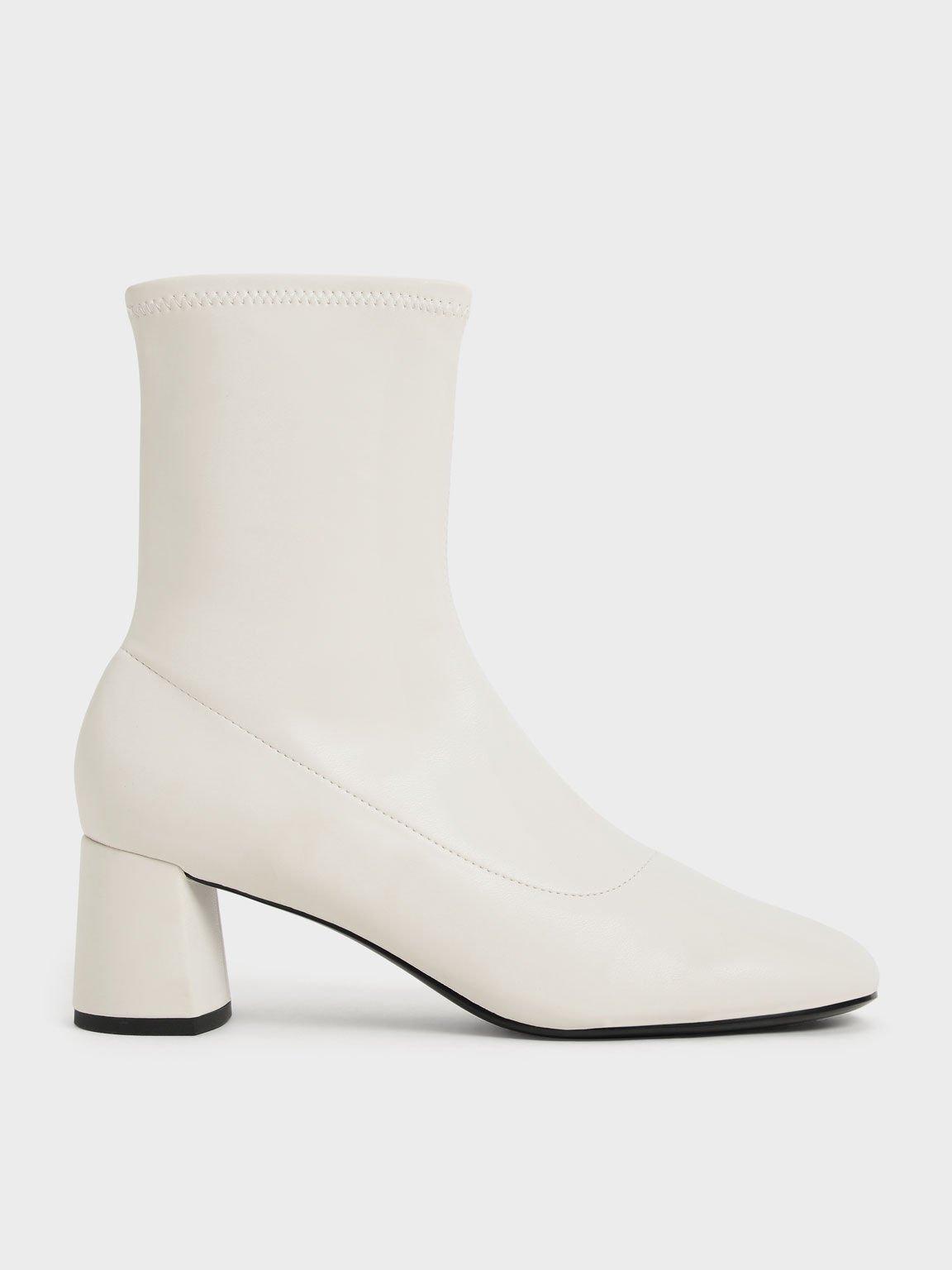 Stitch-Trim Ankle Boots, Chalk, hi-res