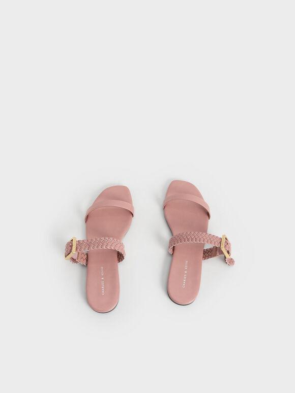 우븐 스트랩 슬라이드 샌들, 핑크, hi-res