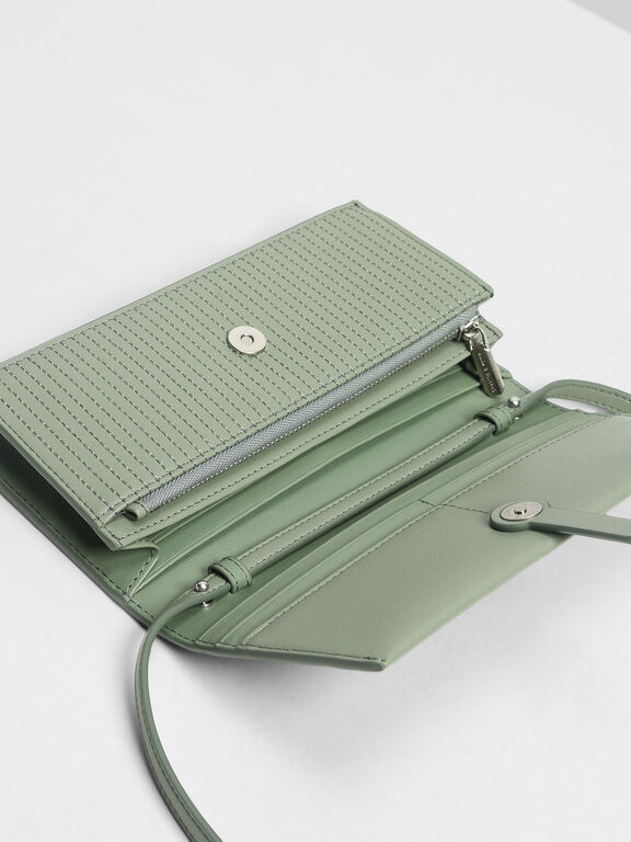 Topstitch Detail Wallet, Sage Green