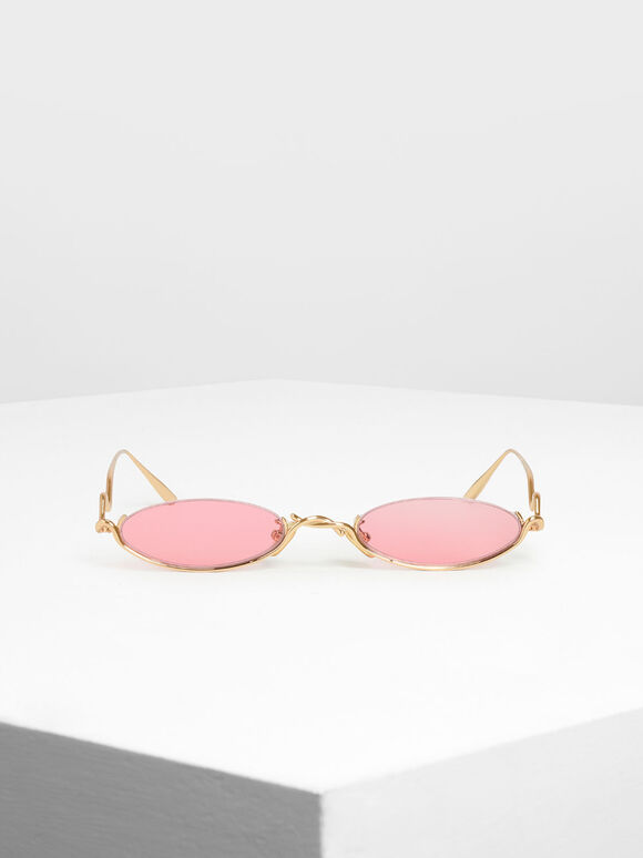 Wire Frame Oval Sunglasses, Red, hi-res