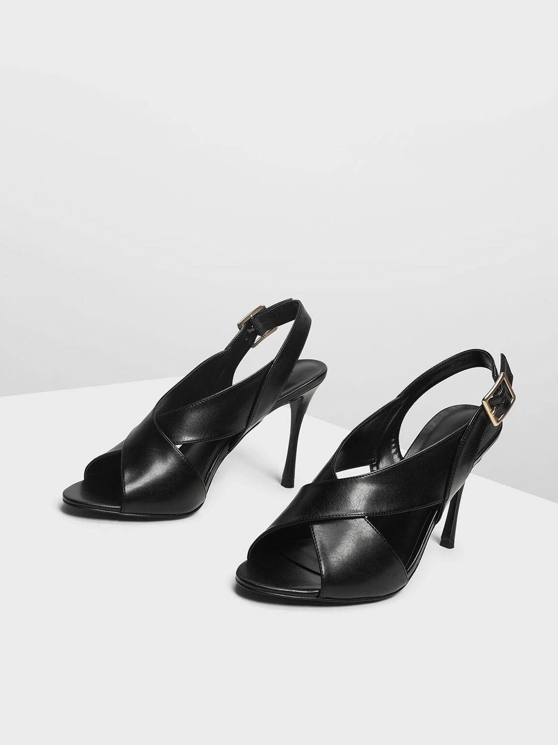 Crossband Slingback Heeled Sandals, Black, hi-res