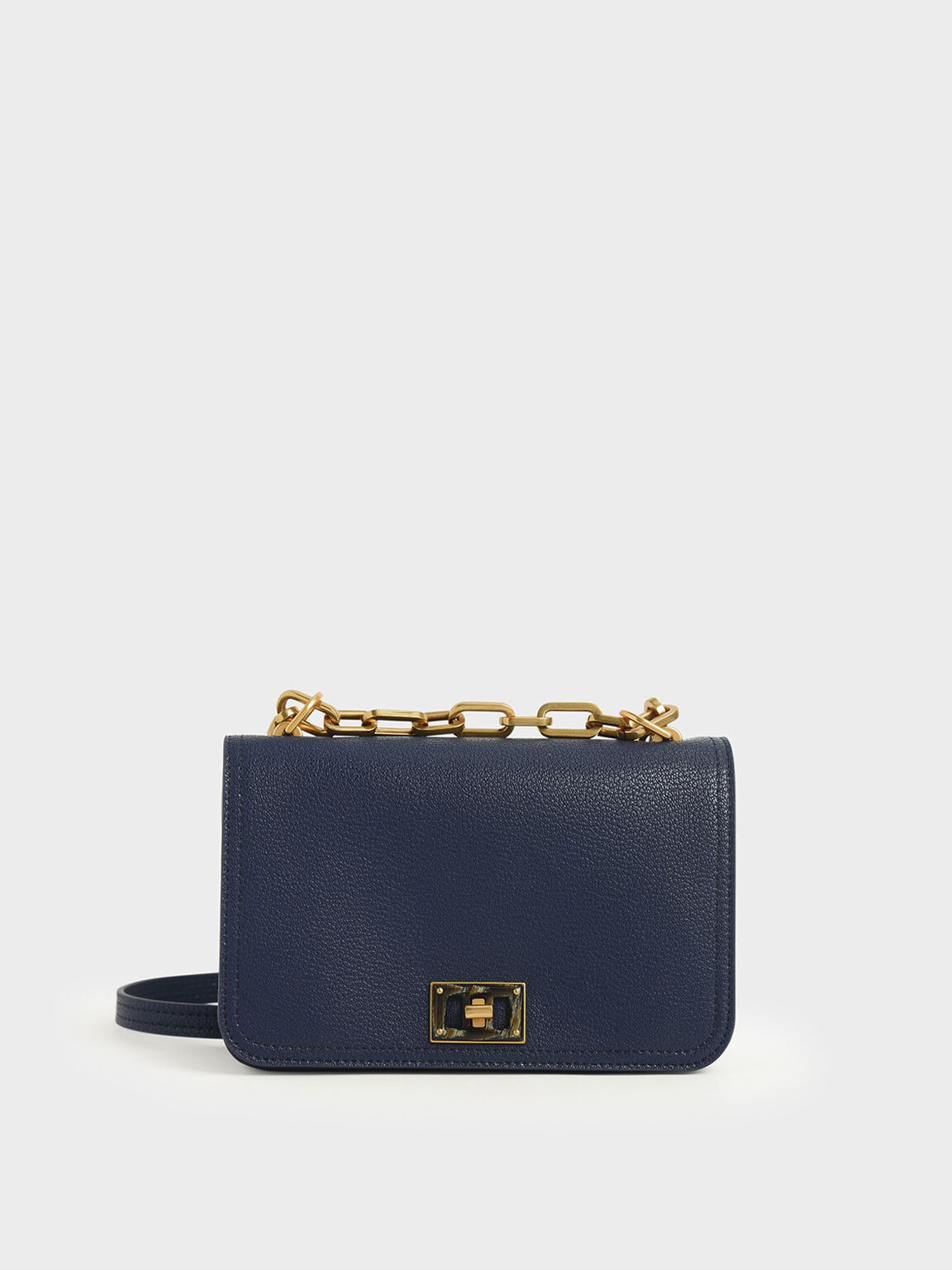 Chain Handle Crossbody Bag, Dark Blue, hi-res