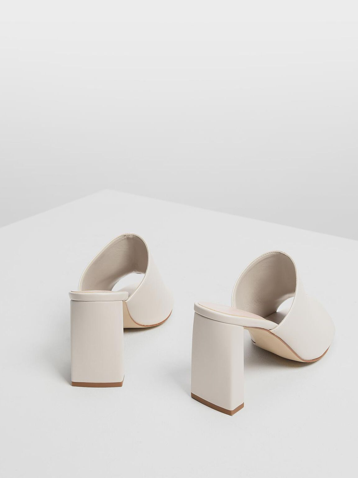 Block Heel Slide Sandals, Chalk, hi-res