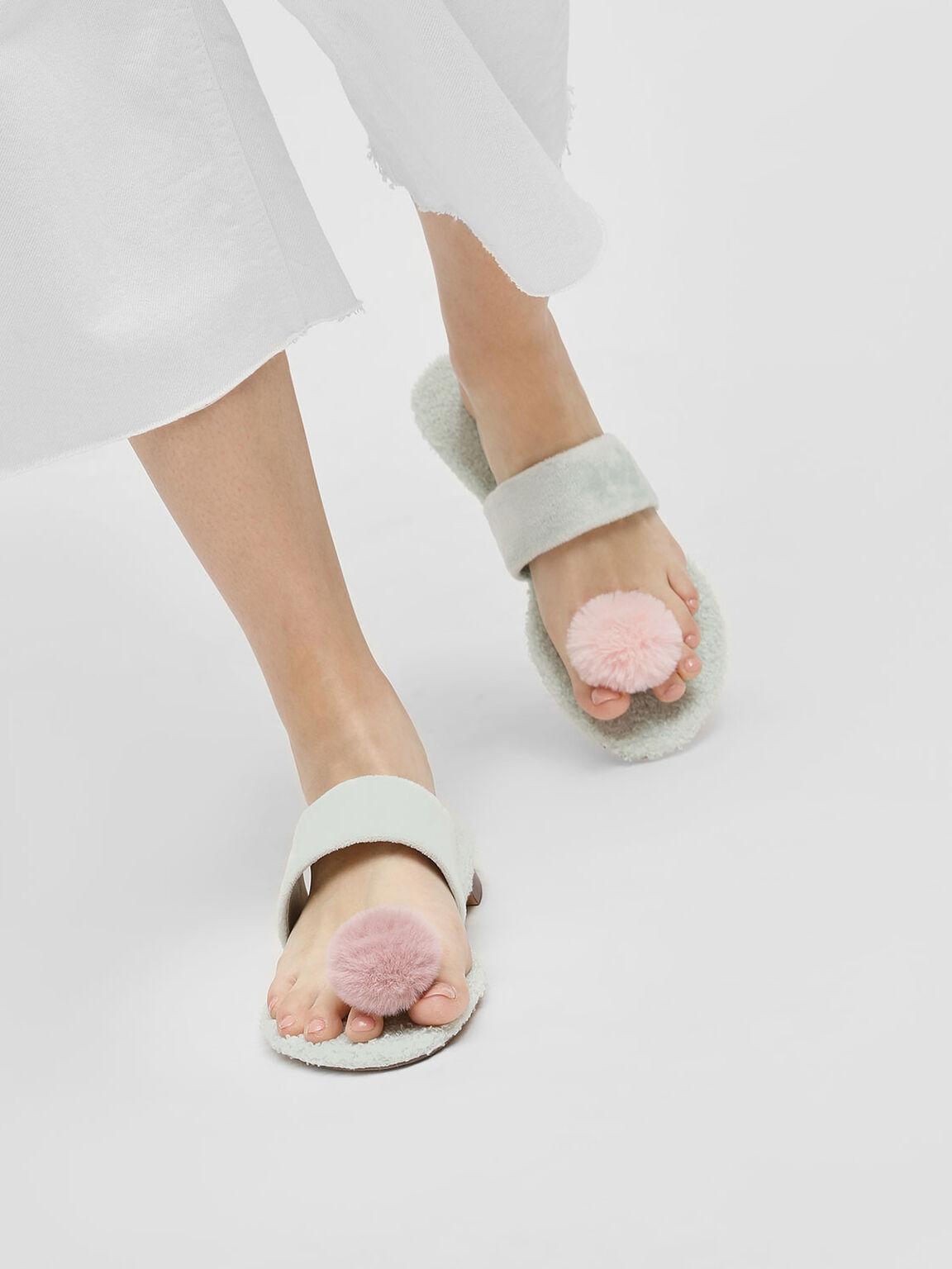 Furry Thong Slip-Ons, Mint Green, hi-res