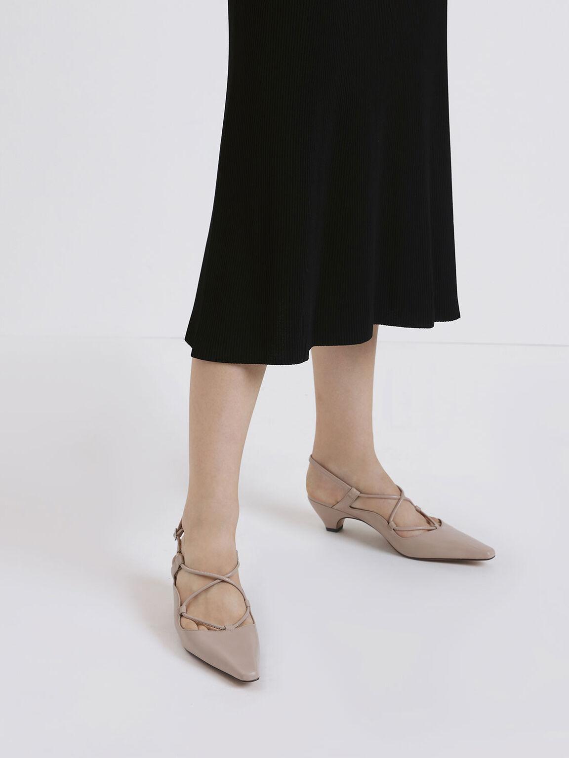 Criss Cross Slingback Kitten Block Heels, Nude, hi-res