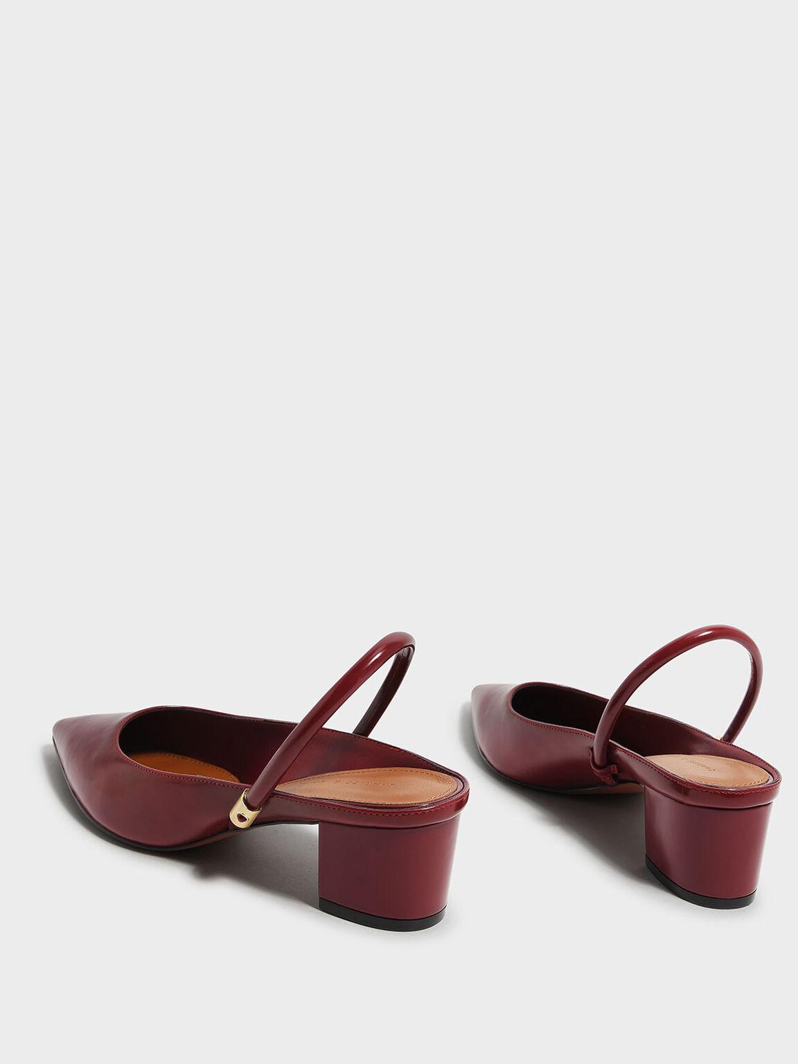 尖頭低跟鞋, 紅色, hi-res