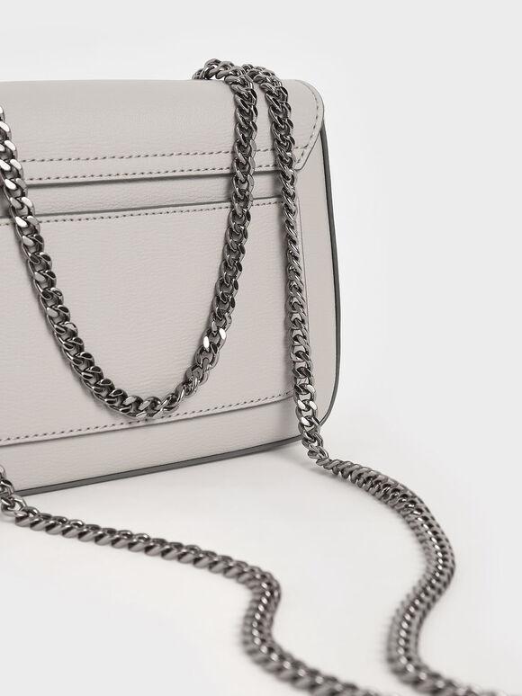 Double Chain Link Crossbody Bag, Grey, hi-res