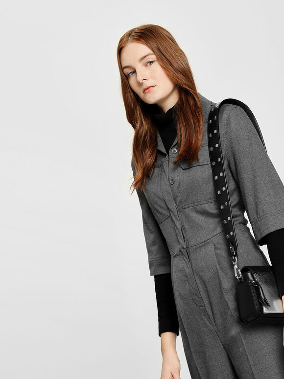 Stud Detail Bag Strap, Black, hi-res