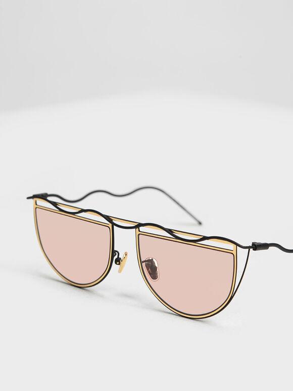 波浪鏡框墨鏡, 金色, hi-res