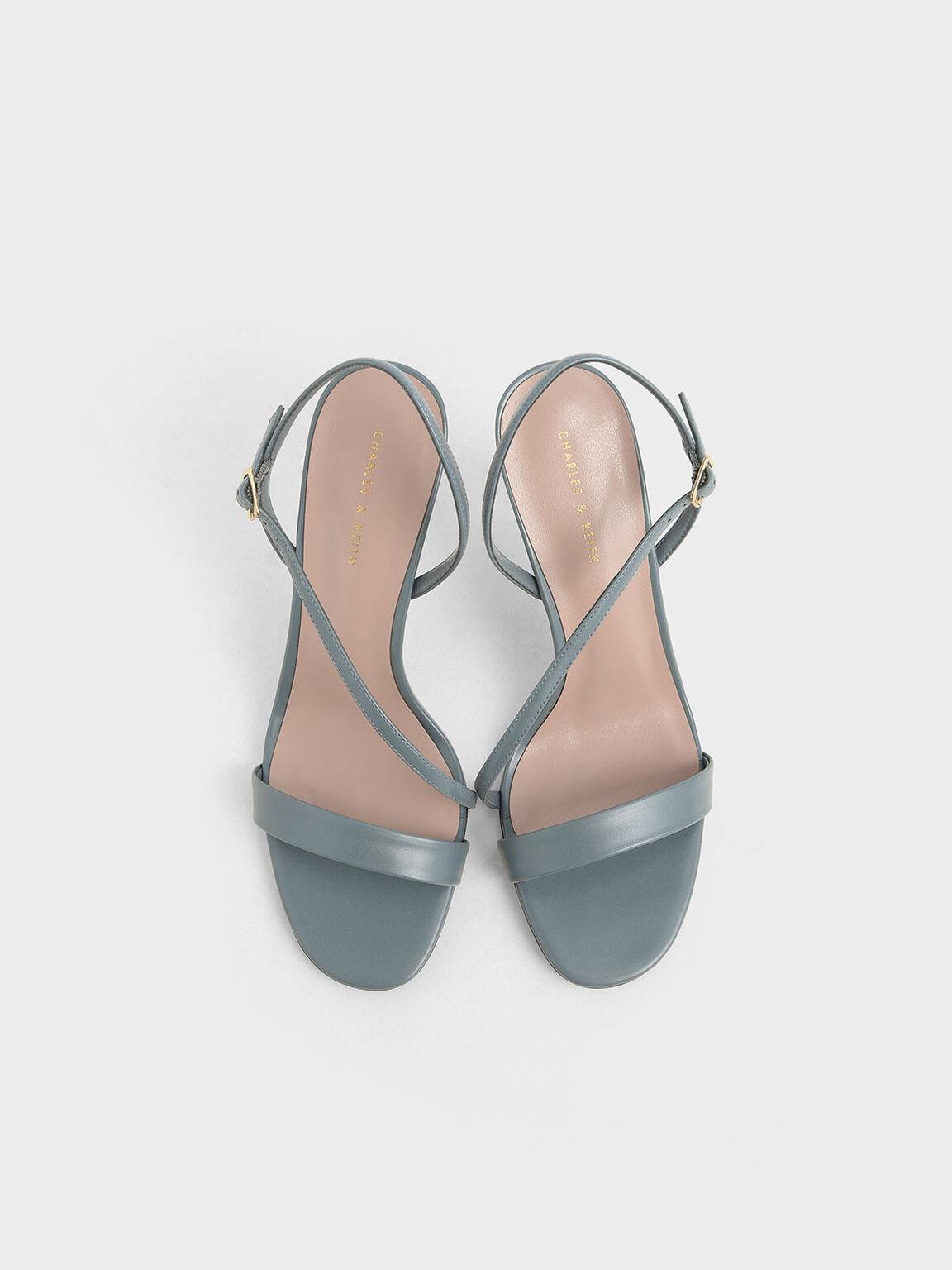 幾何帶高跟涼鞋, 藍色, hi-res