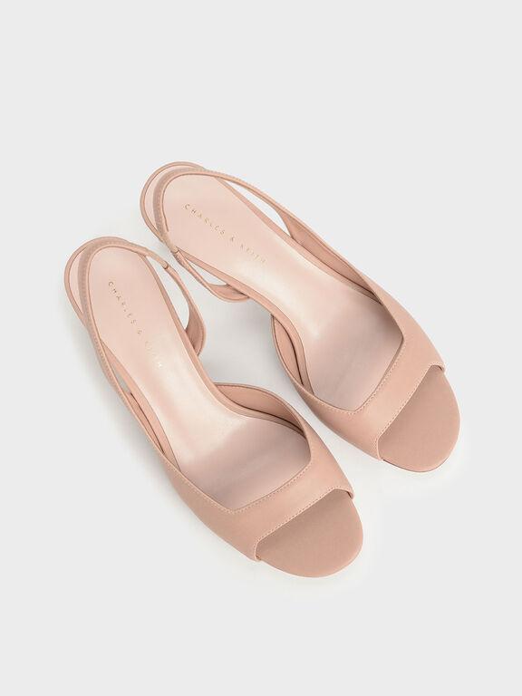 Open Toe D'Orsay Slingback Heels, Nude, hi-res