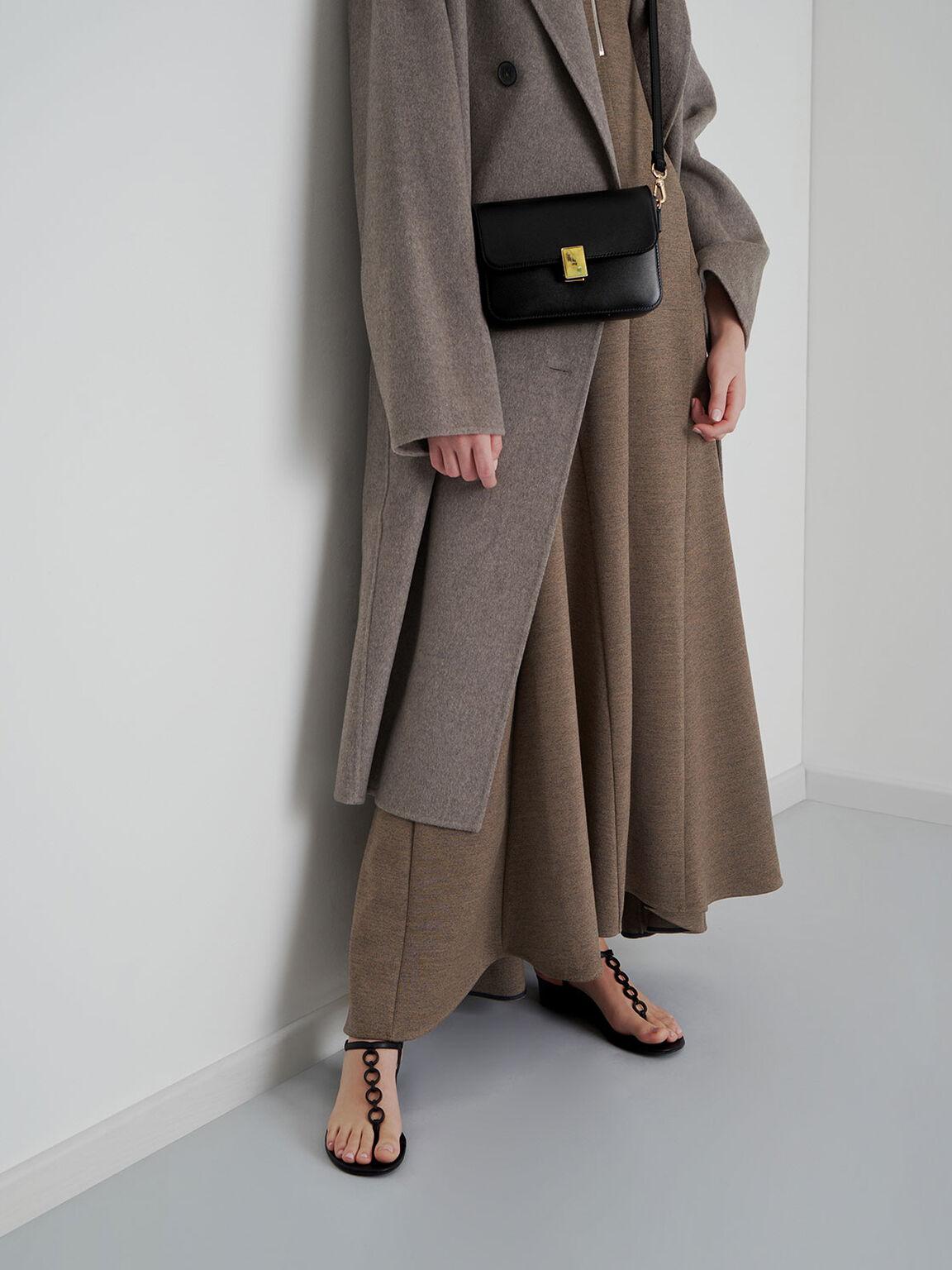 Leather Embellished Push-Lock Crossbody Bag, Black, hi-res