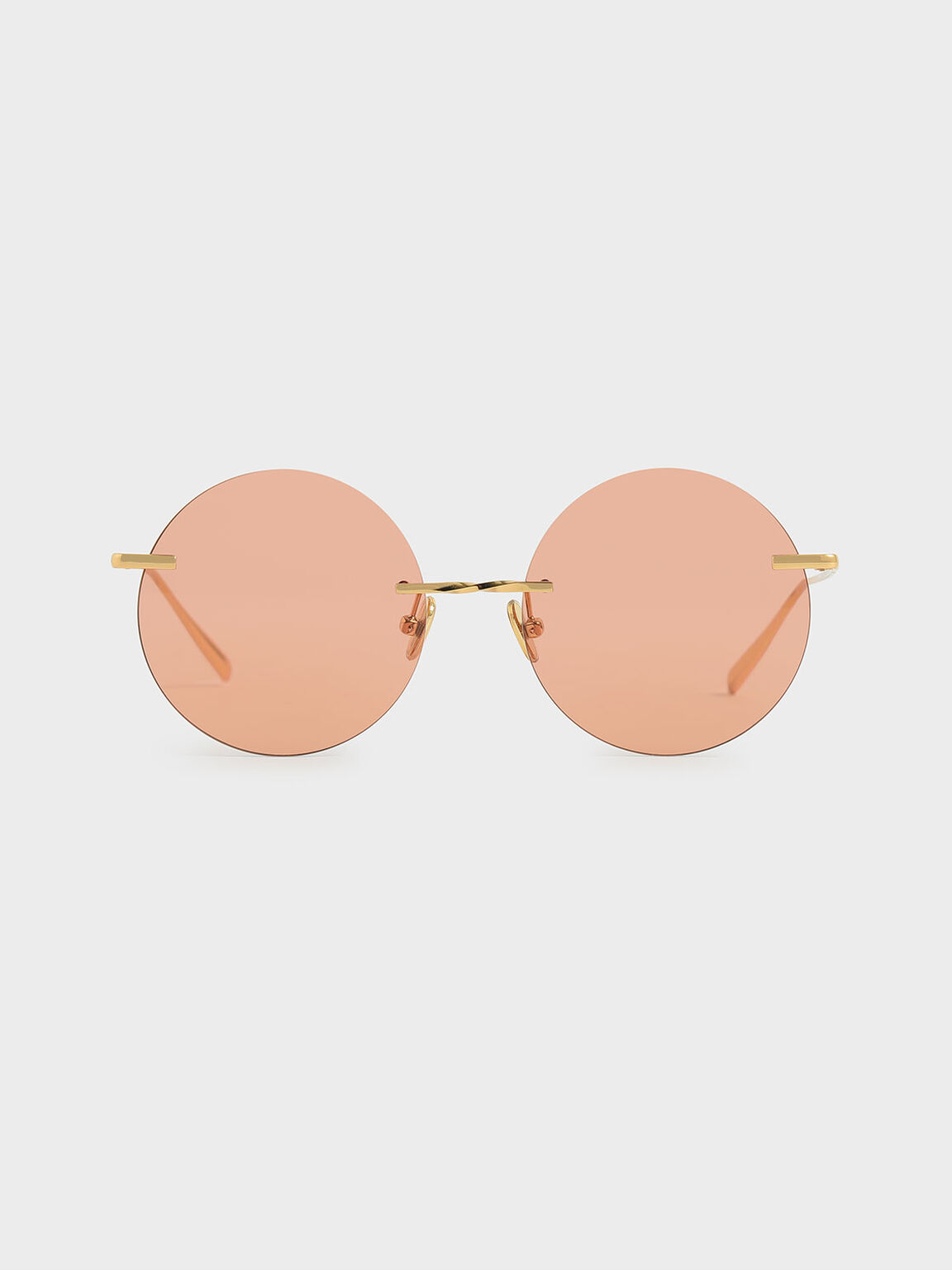 Round Rimless Sunglasses, Orange, hi-res