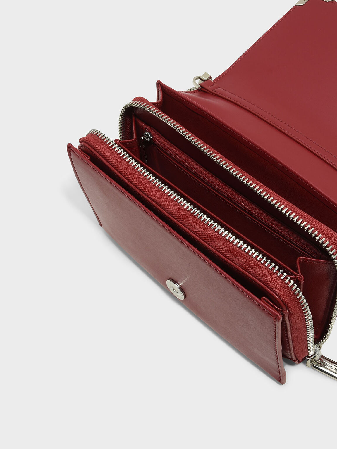 Metal Accent Sling Bag, Red, hi-res