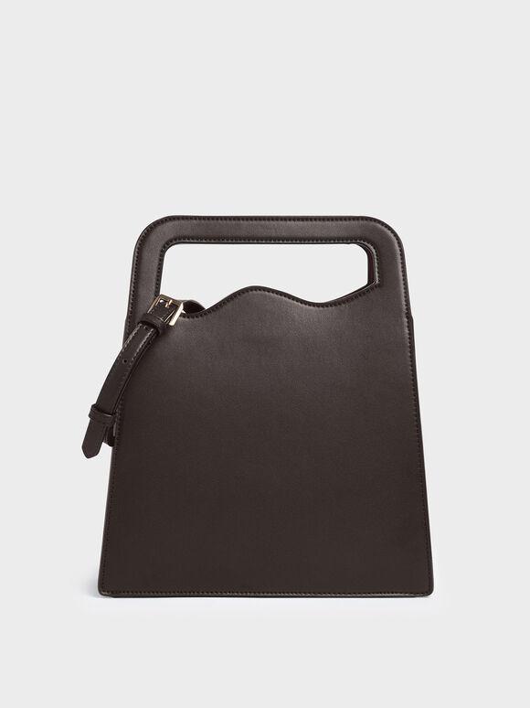 Asymmetric-Cut Top Handle Tote Bag, Dark Brown, hi-res