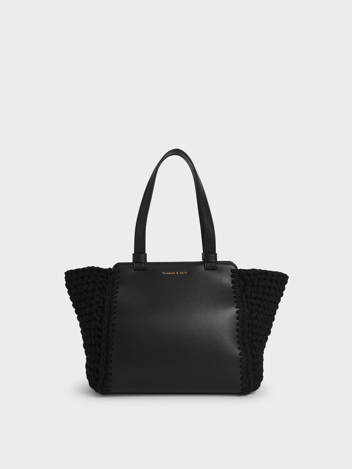 Crochet Tote Bag, Black, hi-res