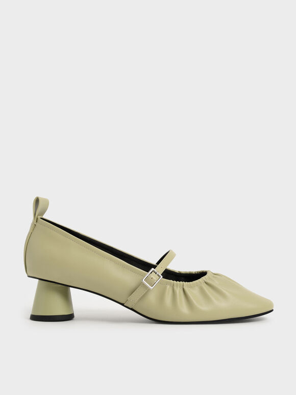 Ruched Mary Jane Pumps, Sage Green, hi-res