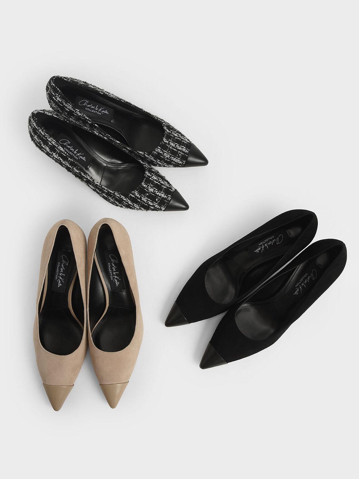 Leather & Tweed Sculptural Heel Pumps, Black, hi-res