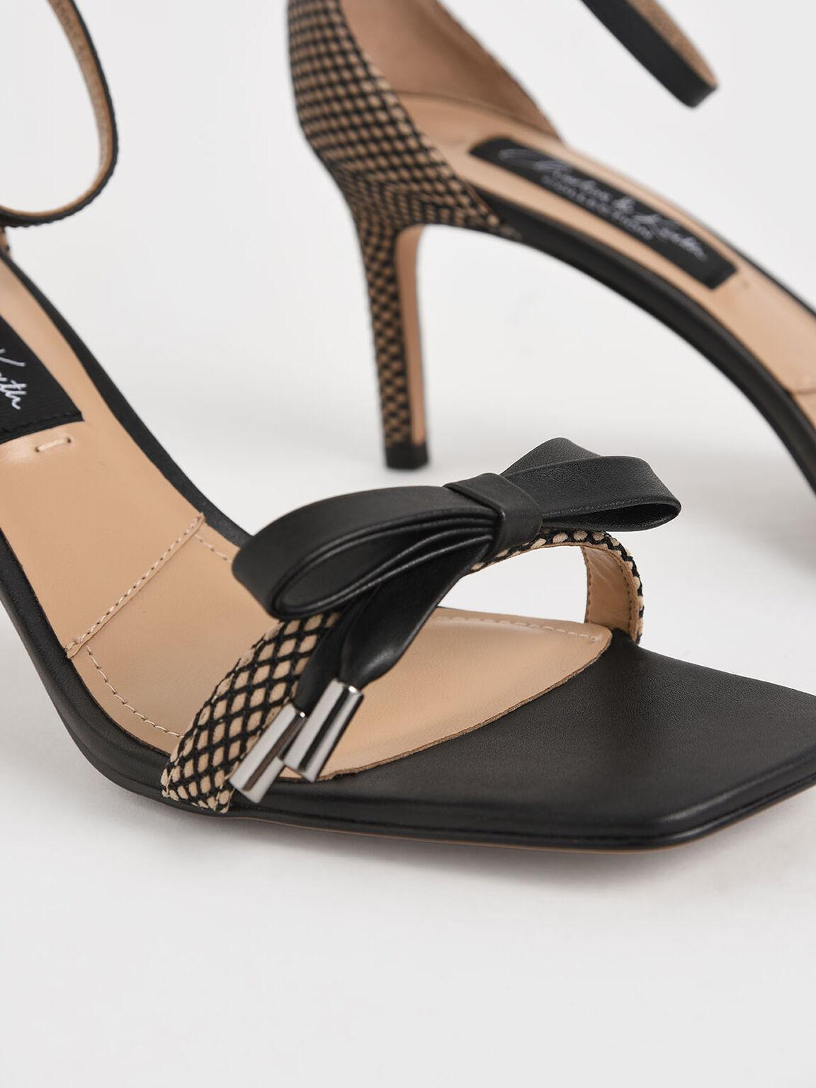 真皮蝴蝶結細跟涼鞋, 混色, hi-res