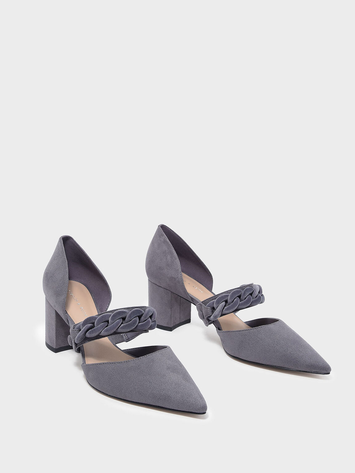 Chain Detail Pointed Heels, Grey, hi-res