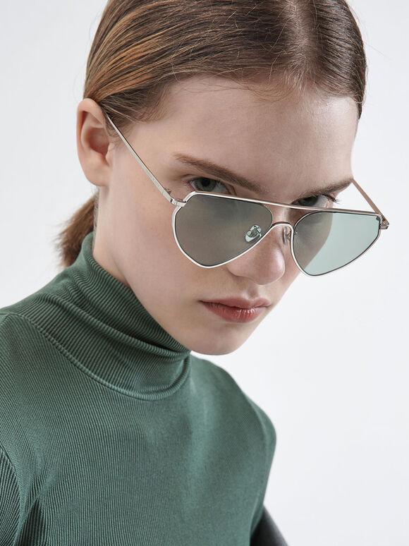 金屬框飛行員墨鏡, 綠色, hi-res