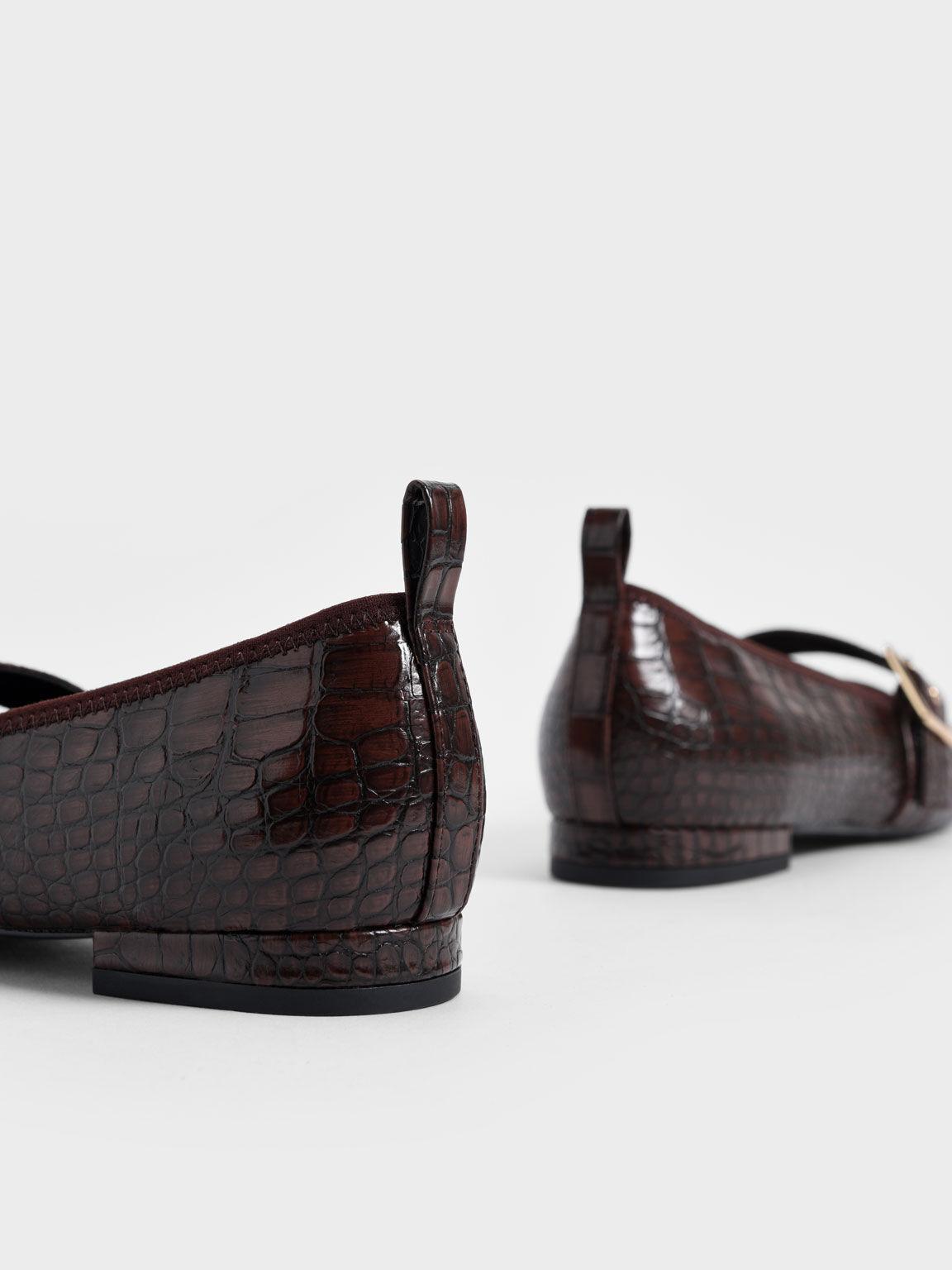 Croc-Effect Square Toe Mary Jane Flats, Animal Print Brown, hi-res