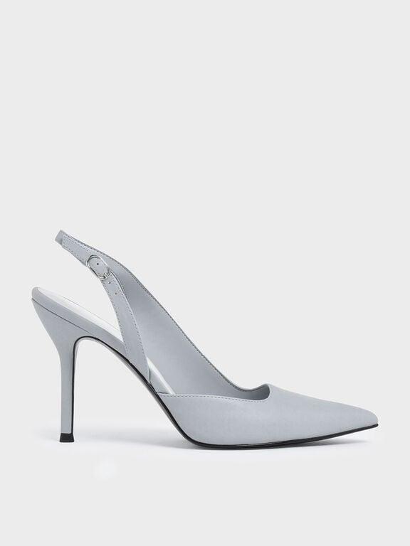 D'Orsay Slingback Heels, Light Blue, hi-res