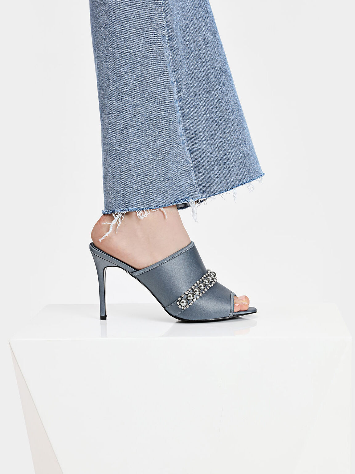 Embellished Satin Mules, Grey, hi-res