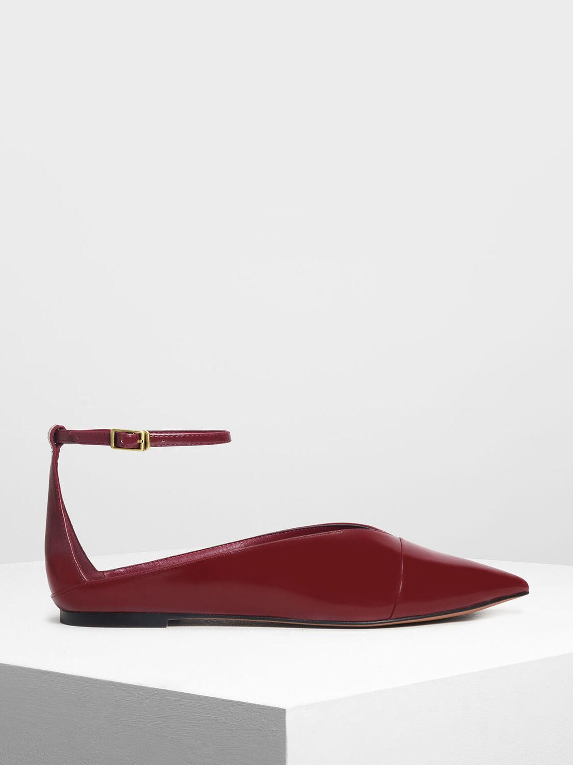 V Topline Ankle Strap Flats, Burgundy, hi-res