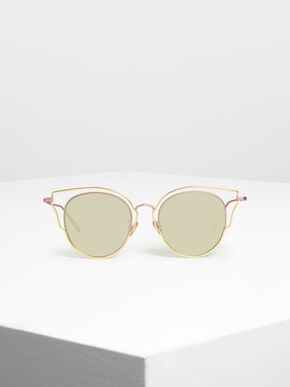 Double Frame Wingtip Sunglasses, Pink