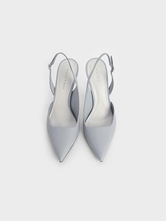 D'Orsay Slingback Heels, Light Blue