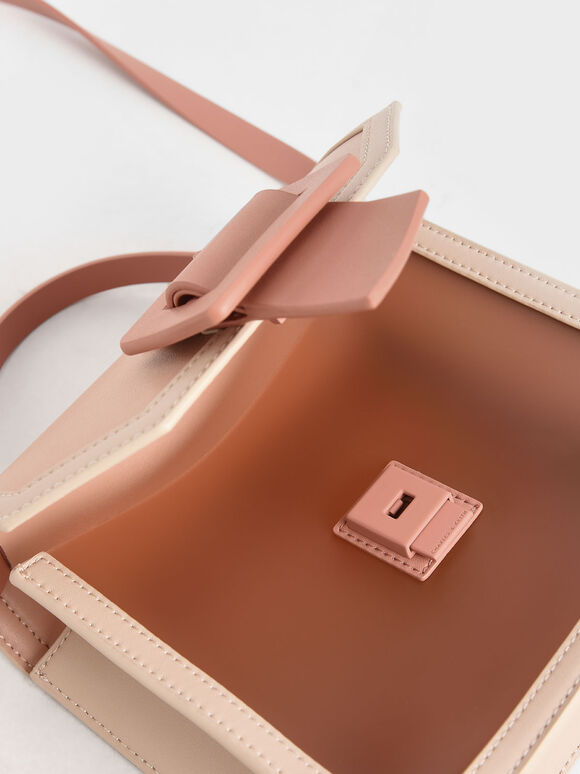 See-Through Effect Buckled Bag, Nude, hi-res