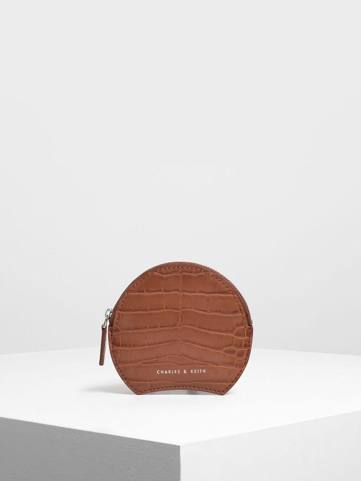 Semi Circle Croc-Effect Mini Pouch, Burgundy, hi-res