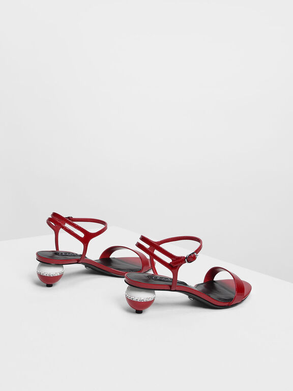 Leather Spherical Heel Sandals, Red