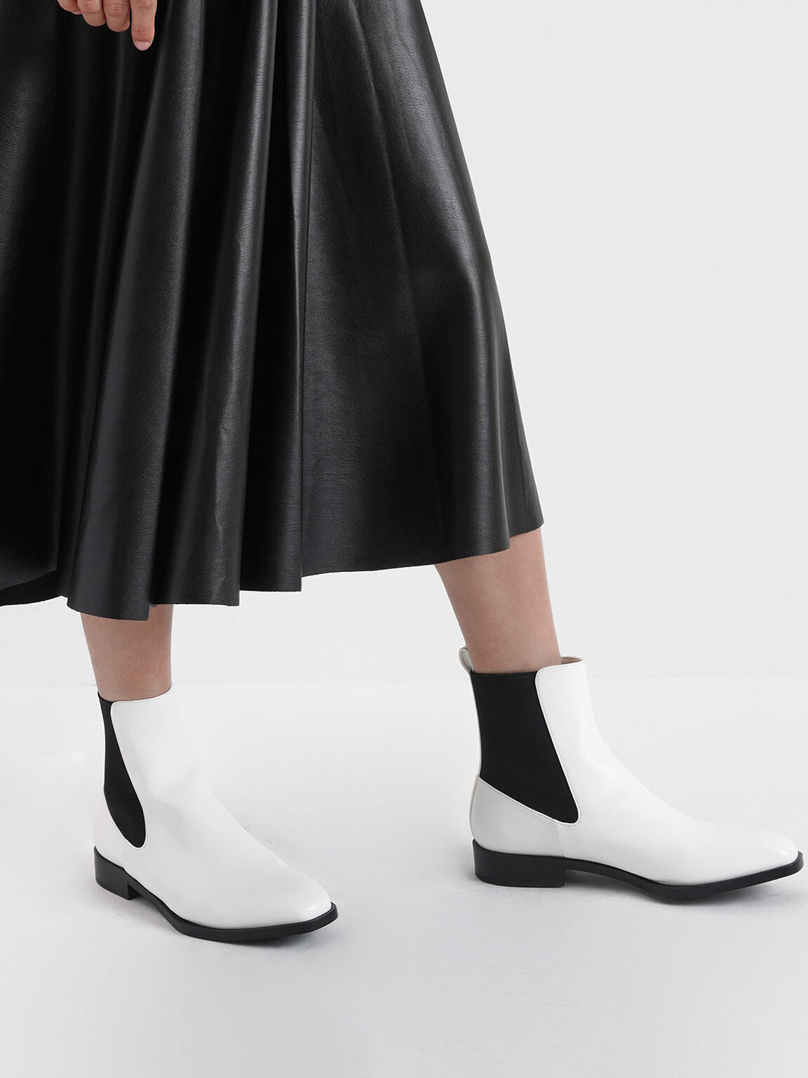 Two-Tone Mini Square Toe Chelsea Boots, White, hi-res