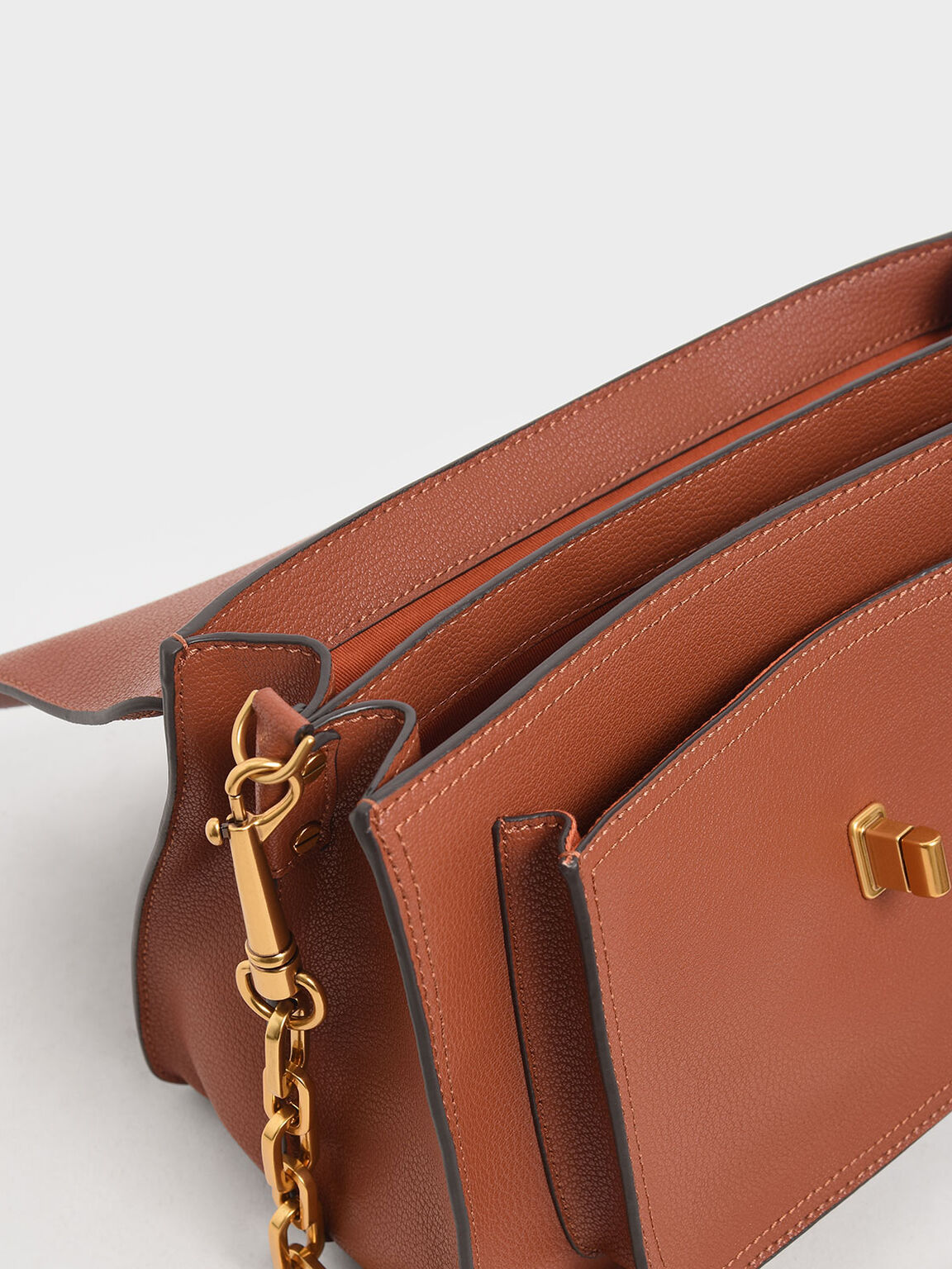 Large Resin-Effect Buckle Bag, Cognac, hi-res