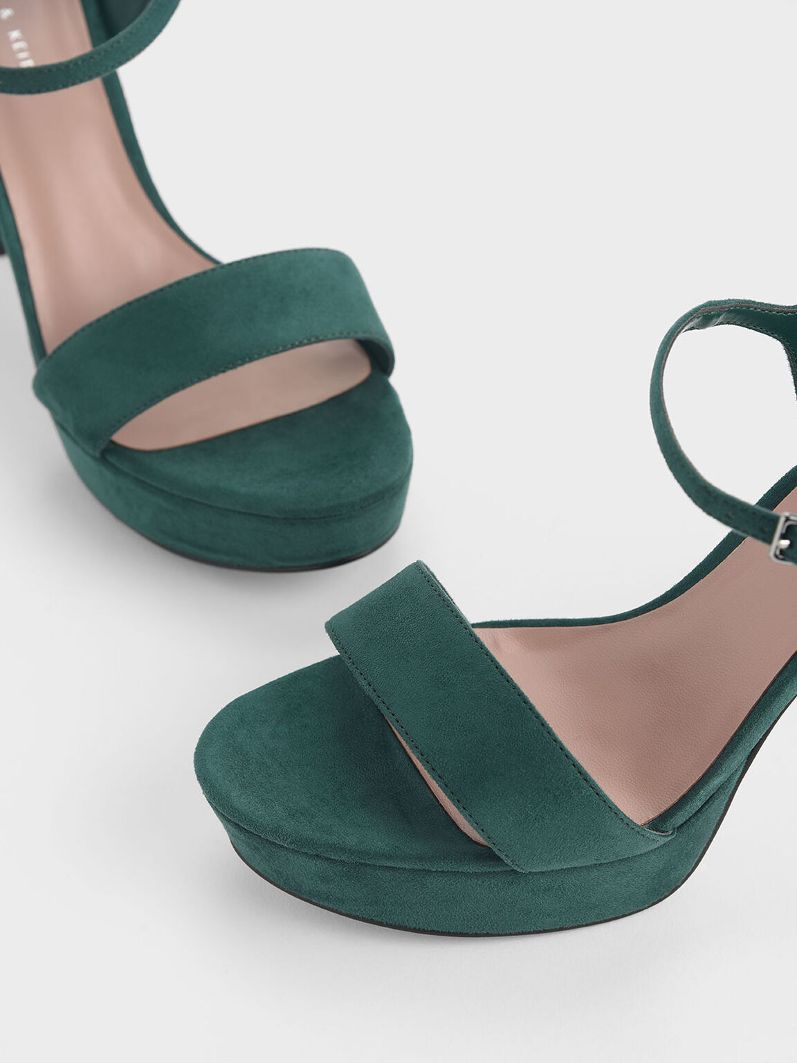 Textured Chunky Platform Heels, Green, hi-res