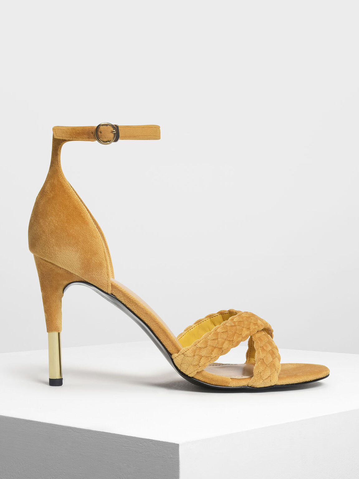 Braided Crossband Heeled Sandals, Mustard, hi-res