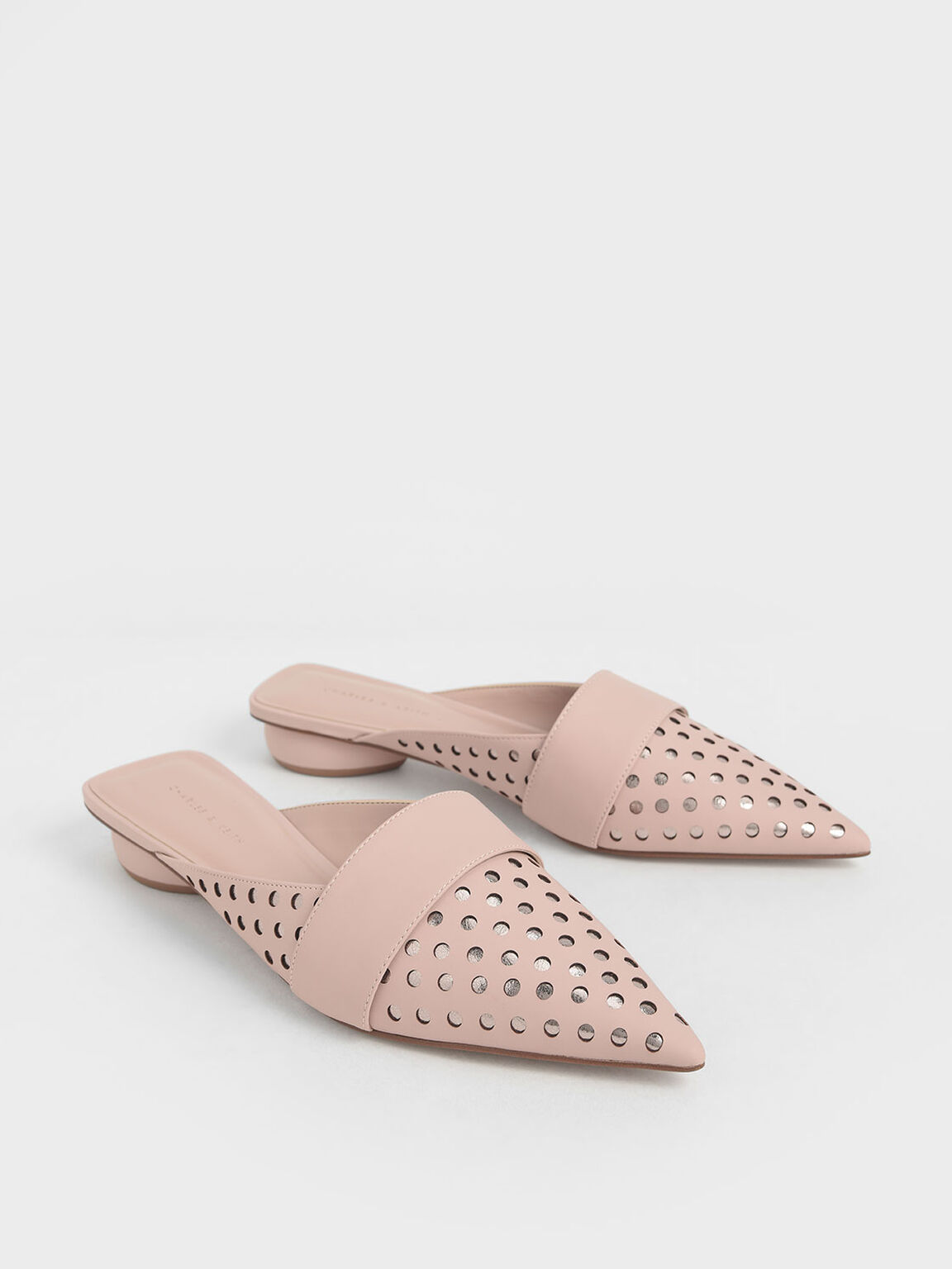 Laser-Cut Pointed Toe Mules, Nude, hi-res